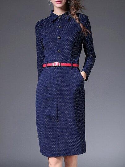 Blue Lapel Belted Pockets Sheath Dress