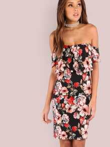Florals Off Shoulder Frill Dress