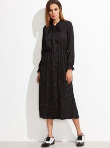 Black Polka Dot Bow Tie Neck Pleated Dress