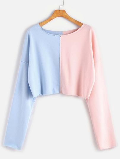 Contrast Raw Edge Dropped Shoulders Crop Sweatshirt