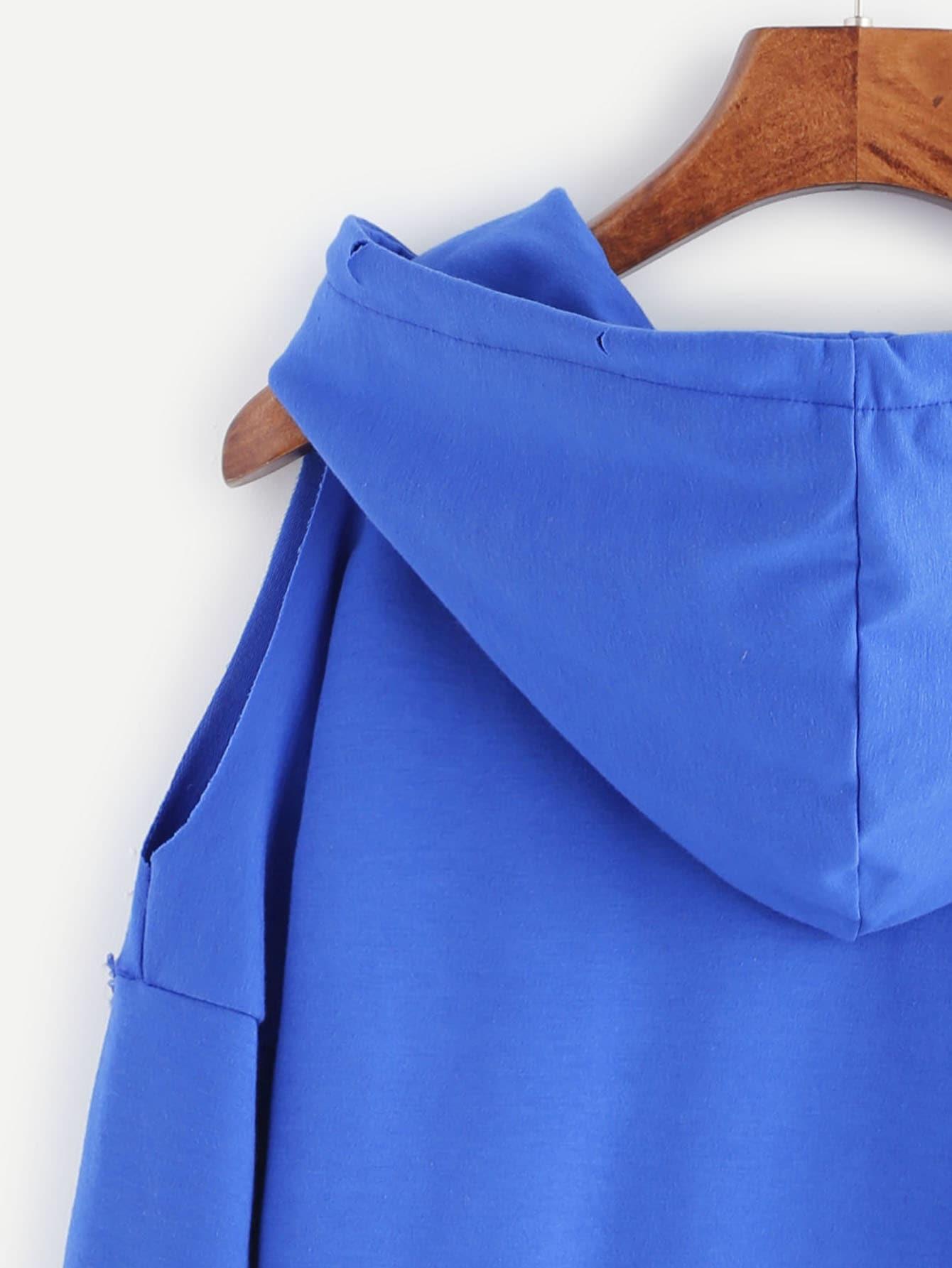 sweat shirt une paule ouvert avec poche et capuche bleu french shein sheinside. Black Bedroom Furniture Sets. Home Design Ideas