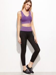 Purple Criss Cross Back Sport Tank Top With  Leggings