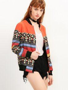 Multicolor Geometric Print Bomber Jacket