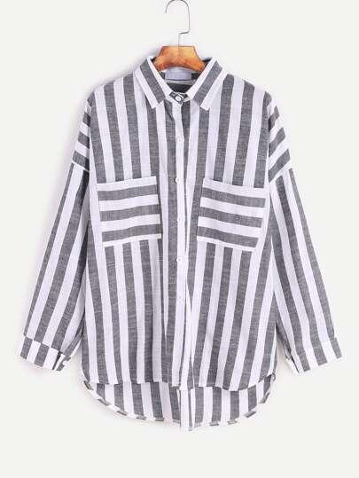Contrast Striped Drop Shoulder High Low Pockets Shirt
