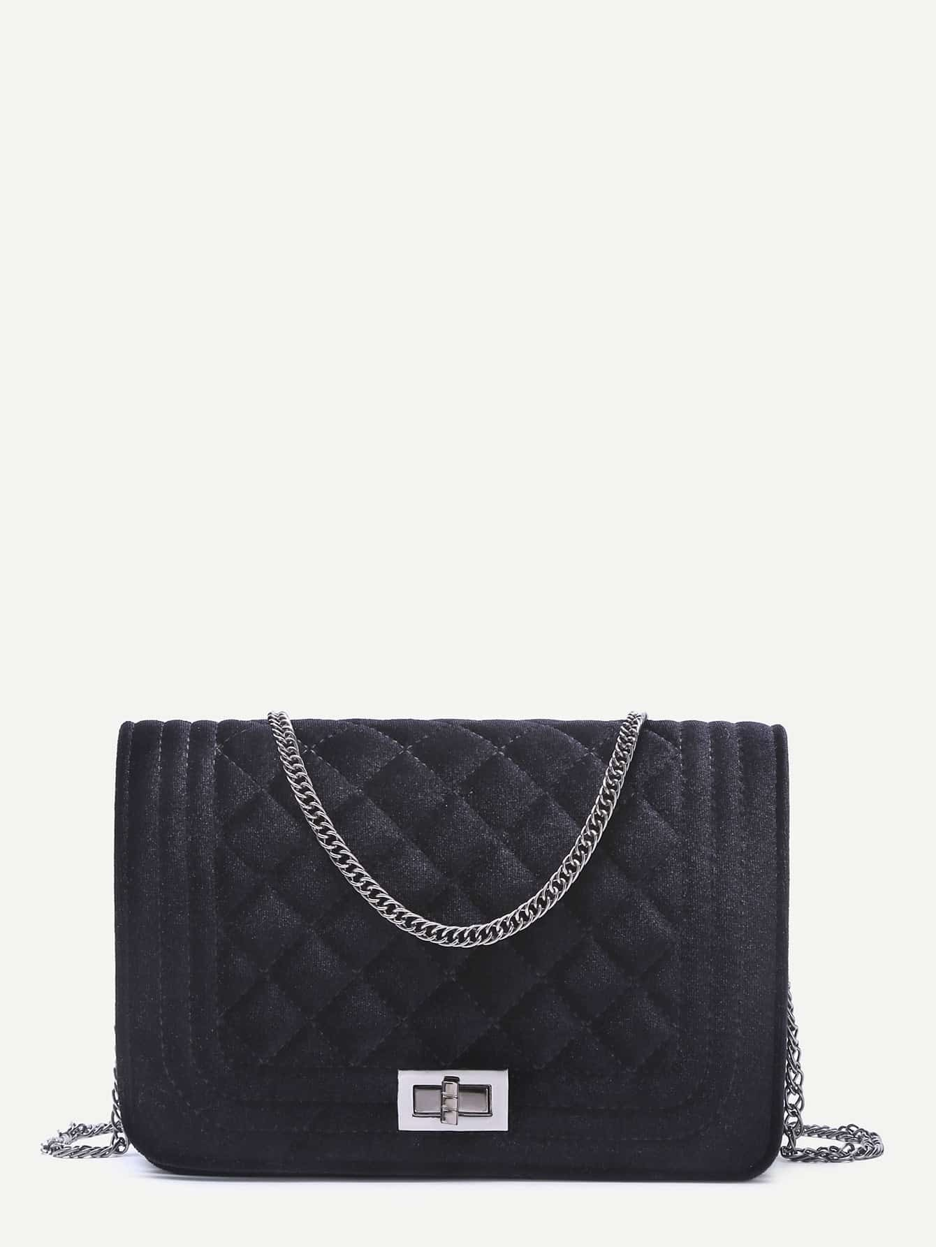 Black Velvet Quilted Mini Flap Chain BagBlack Velvet Quilted Mini Flap Chain Bag<br><br>color: Black<br>size: None