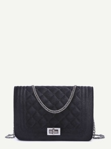 Velvet Quilted Flap Chain Long Bag