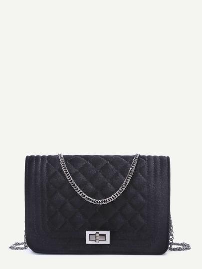 Velvet Quilted Flap Chain Long Bag