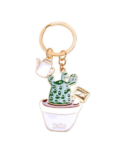 Pot Cactus Shaped Metal Keychain