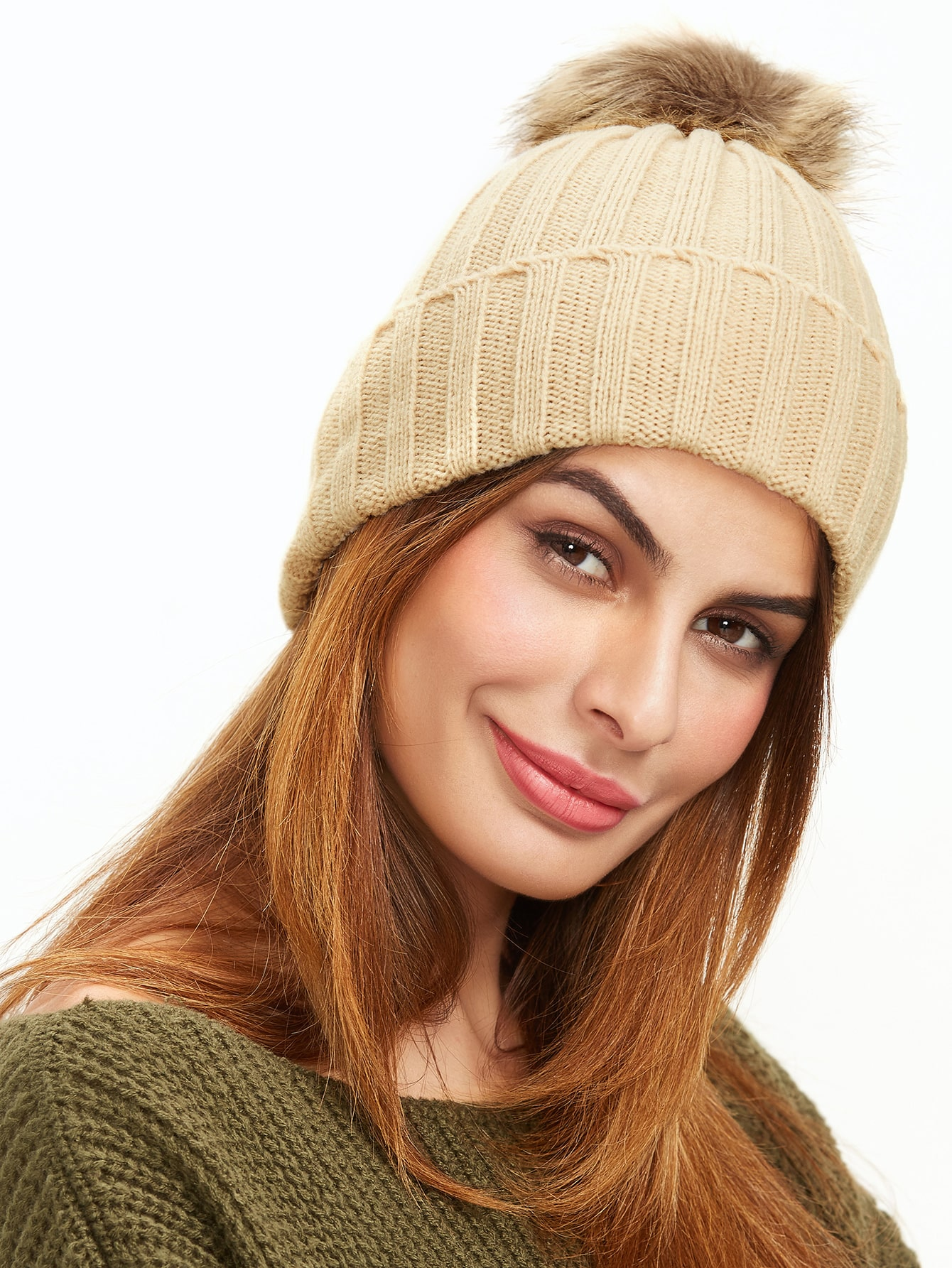Beige Ribbed Pom Pom Knit Hat hat161103302