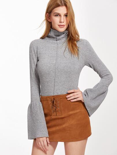 Grey Turtleneck Bell Sleeve Ruffle Hem Knitwear