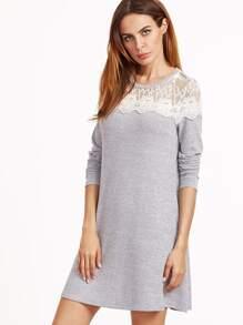 contrast lace shoulder a line dress sheinsheinside