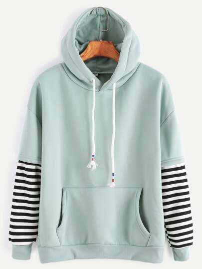 Sleeve Striped Drawstring Hooded Sweatshirt With Pocket