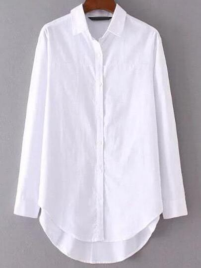 White Blouse Button Up - Long Sleeved Blouse
