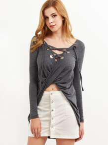 Heather Grey Lace Up V Neck Twist Front T-shirt
