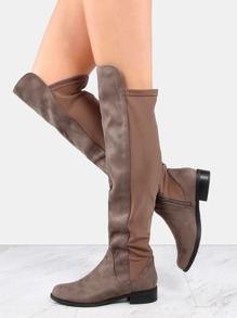 Faux Suede Stretch Flat Boots DARK TAUPE