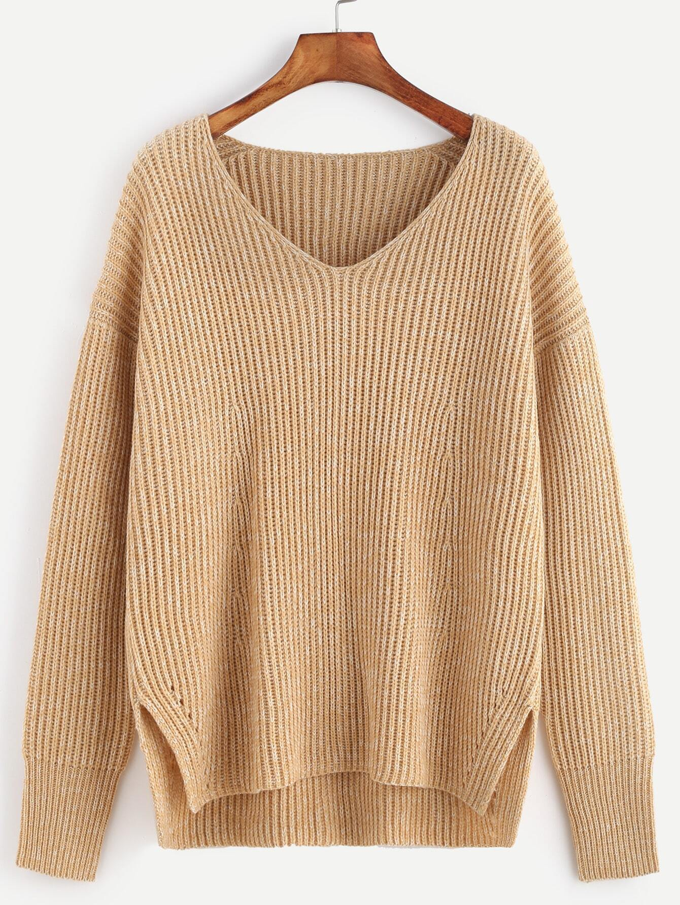 Apricot Marled Ribbed Knit Slit High Low Sweater sweater161101454