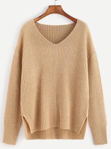 Pull tricoté à nervures col V - abricot