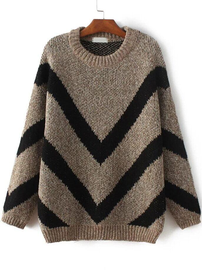 Khaki Chevron Pattern Ribbed Trim Sweater sweater161103203