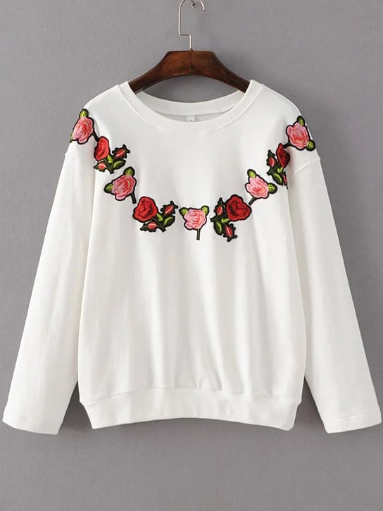 White Floral Embroidery Ribbed Trim  Sweatshirt sweatshirt161104205