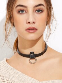 Black PU Leather Hollow Circle Spike Choker Necklace