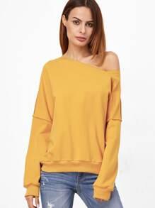 Yellow Asymmetric Off The Shoulder Raw Seam Sweatshirt