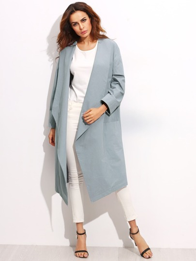 Blue Drop Shoulder Shawl Collar Duster Coat With Pocket