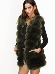 Army Green Faux Fur Vest With Pockets