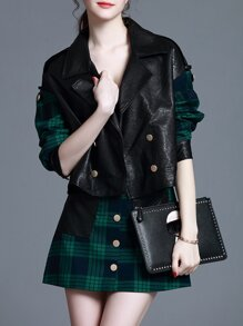 Green Lapel Pu Top With Plaid Skirt
