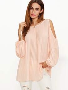 Pink Cold Shoulder Lantern Sleeve Pleated Blouse