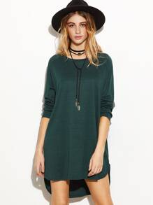 Dark Green Raglan Sleeve Slit Side High Low Dress