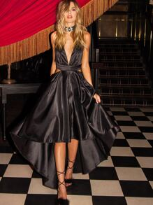 Black Deep V Neck Cut Out High Low Dress