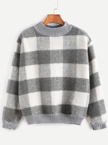 Contrast Ribbed Trim Check Plaid Sweatshirt