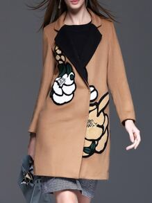 Khaki Lapel Flowers Embroidered Coat
