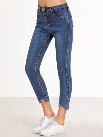 Blue Raw Hem Skinny Jeans