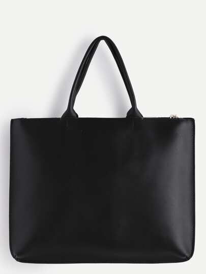Oversized Black PU Plain Tote Bag -SheIn(Sheinside)