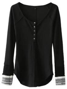 Black Contrast Cuff Button Up Curved Hem Knitwear