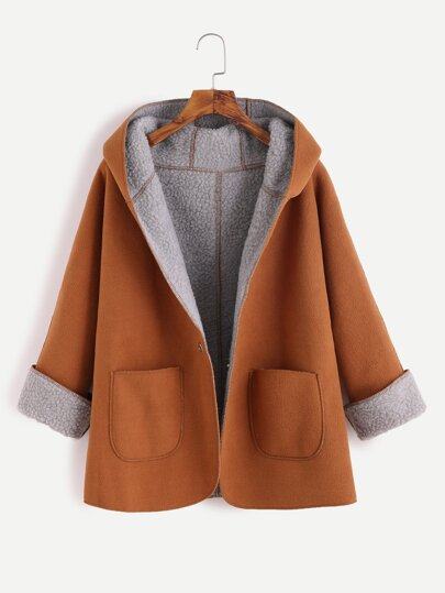 Khaki Contrast Sherpa Lining Single Button Hooded Coat