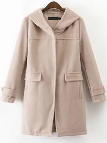 Abrigo con capucha y bolsillo - albaricoque