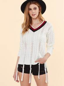 White Striped V Neck Eyelet Sweater With Knotted String