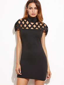 Black Laser Cut Out Zipper Back Bodycon Dress