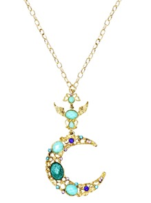 Gold Plated Turquoise Moon Design Pendant Necklace
