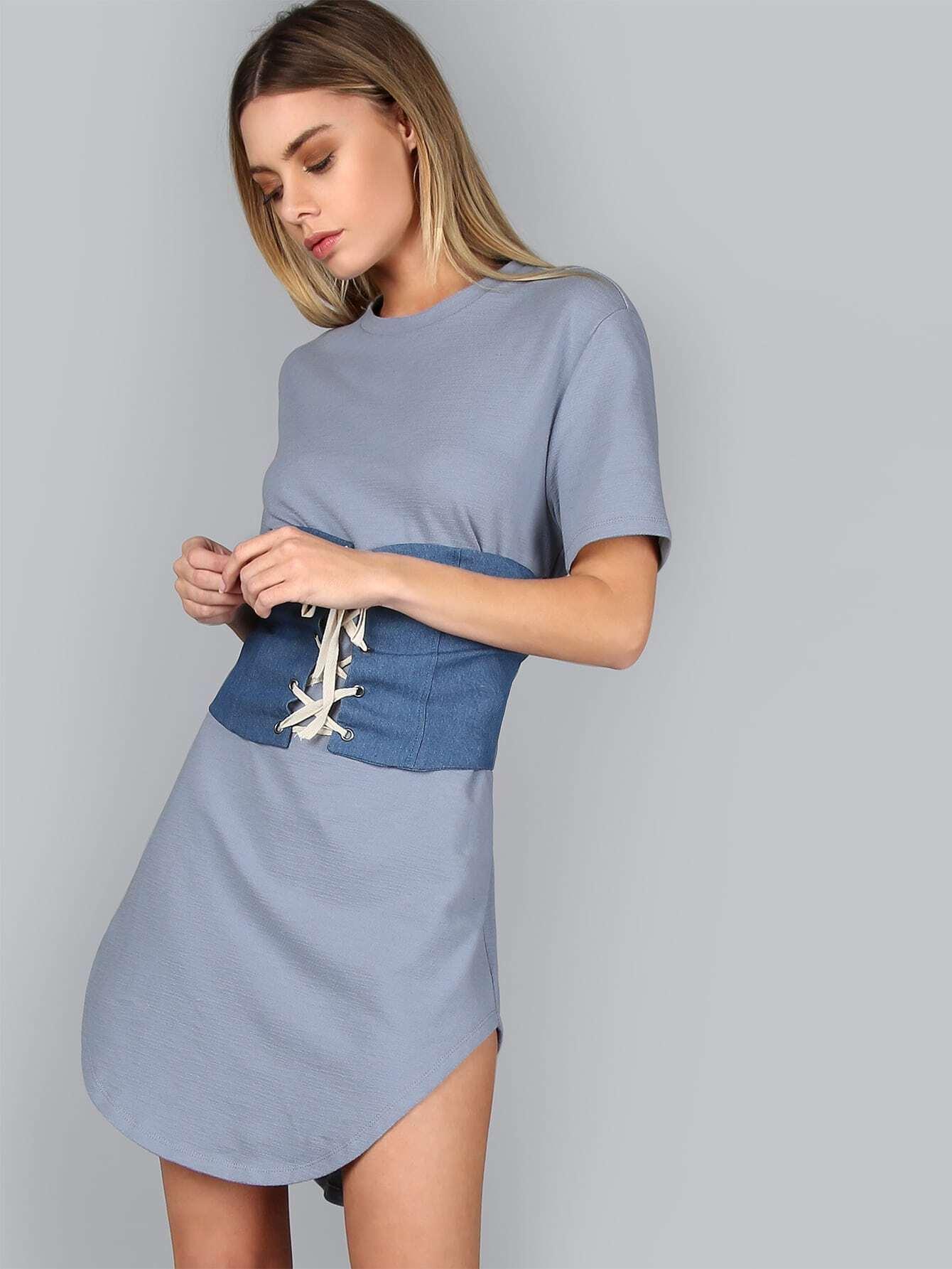 Blue Splash Print Curved Hem Distressed Tee DressBlue Splash Print Curved Hem Distressed Tee Dress<br><br>color: Blue<br>size: L,M,S,XS