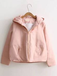 Pink Back Pocket Padded Coat With Cute Hooded