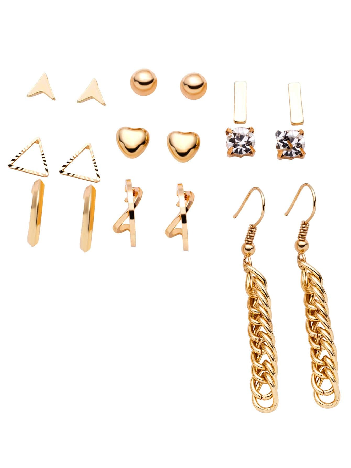 Gold Plated Multi Shape Earring SetGold Plated Multi Shape Earring Set<br><br>color: Gold<br>size: None