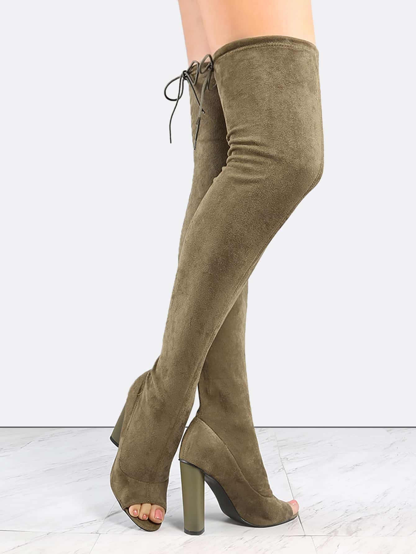 olive green suede peep toe chunky heel the knee boots