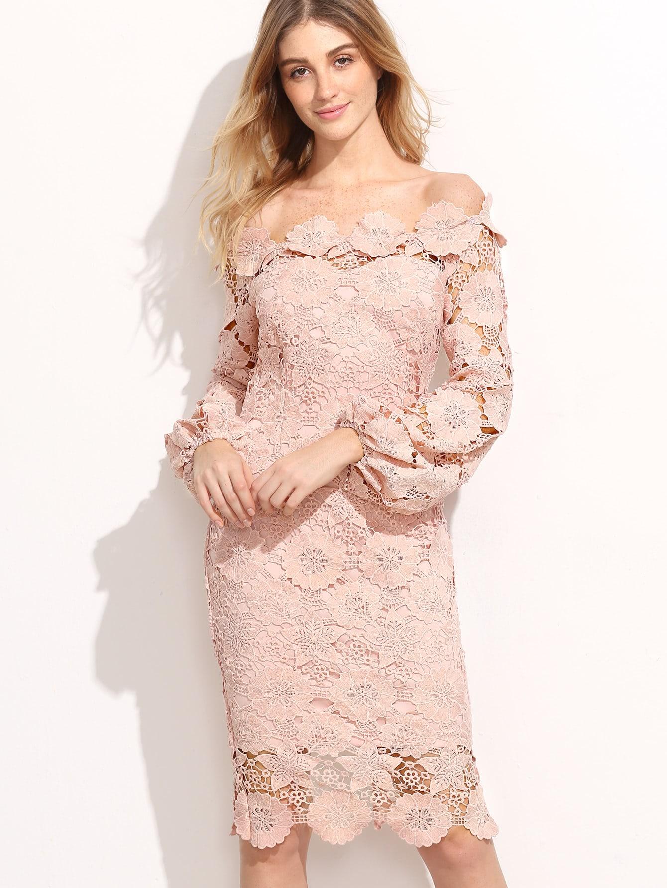 Embroidered Lace Overlay Lantern Sleeve Bardot Dress bardot pencil dress with embroidered mesh sleeve