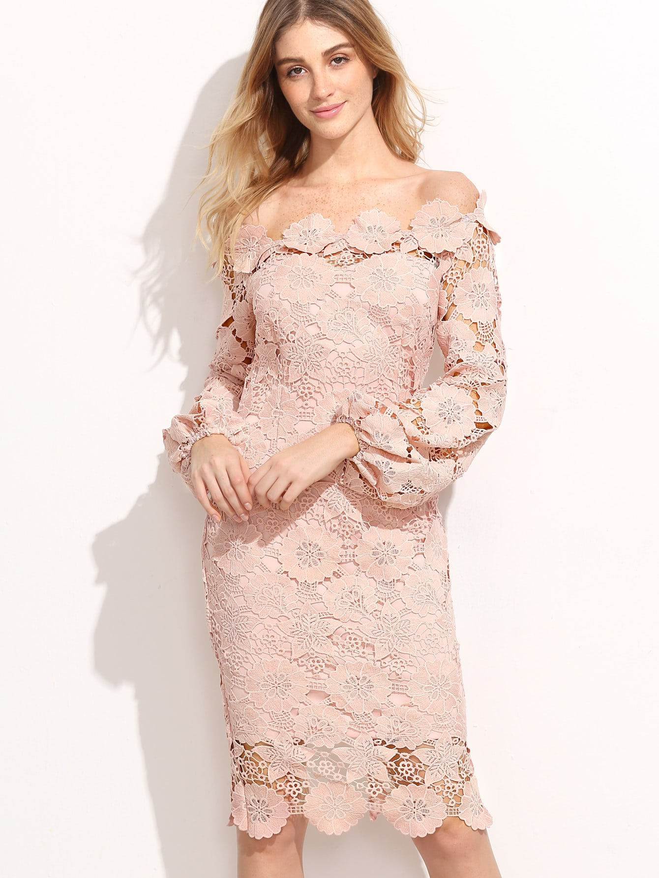 Embroidered Lace Overlay Lantern Sleeve Bardot Dress