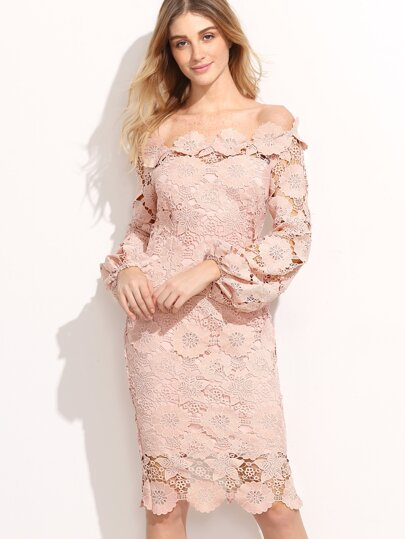 Embroidered Lace Overlay Lantern Sleeve Bardot Dress