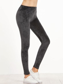 Dark Grey Velvet Skinny Leggings