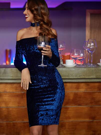 Navy Choker Neck Velvet Pencil Dress